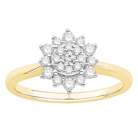 Ring with 0.38 Carat TW of Diamonds in 10ct Yellow & White Gold