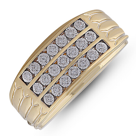 Three Row Ring with 0.12 Carat TW of Diamonds in 10ct Yellow Gold
