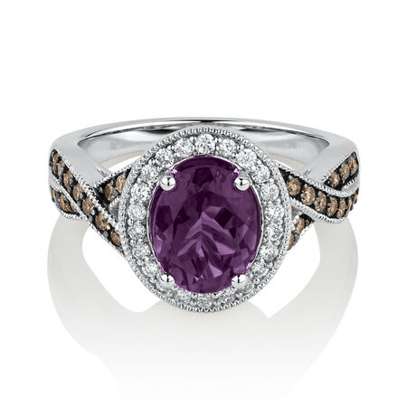 Ring with 0.50 Carat TW of Brown Diamonds & Amethyst in 14ct White Gold