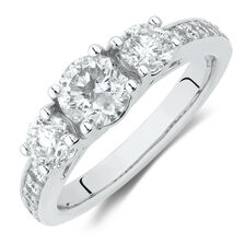 Three Stone Engagement Ring with 1 1/2 Carat TW of Diamonds in 14ct White Gold