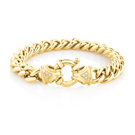 Diamond Set Curb Bracelet in 10ct Yellow Gold