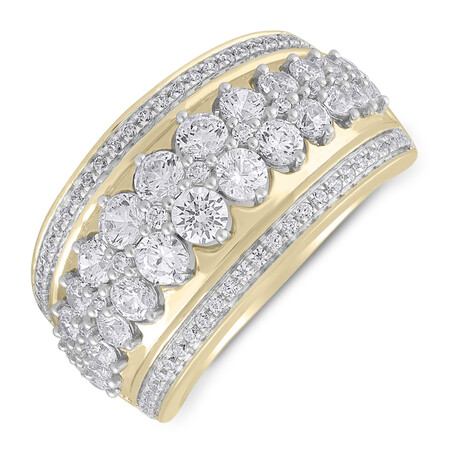 Ring with 1.50 Carat TW of Diamonds in 10ct Yellow Gold
