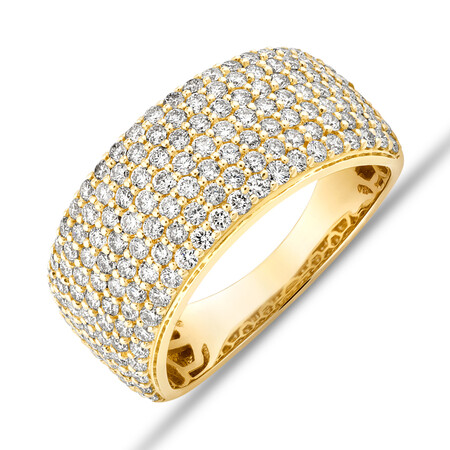 Pave Ring with 1.50 Carat TW Diamond in 10ct Yellow Gold