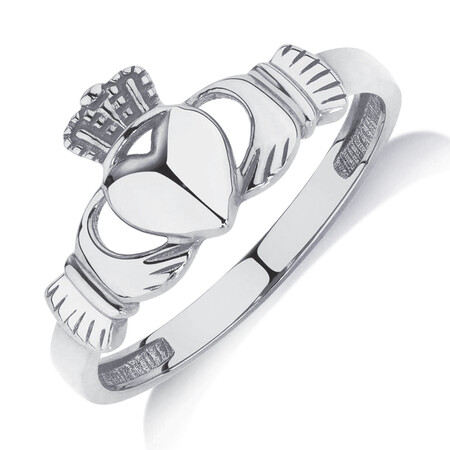 Claddagh Ring in 10ct White Gold