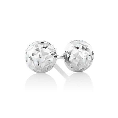 Patterned Stud Earrings in Sterling Silver