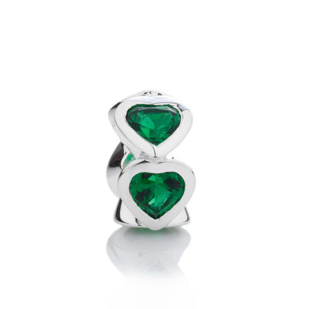 Online Exclusive - Heart Charm with Green Cubic Zirconia in Sterling Silver