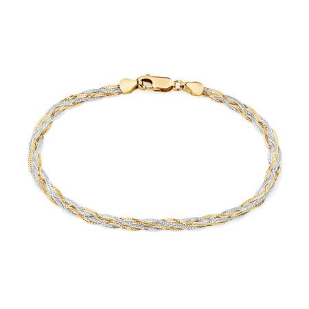 """17cm (6.5"""") Fancy Bracelet in 10ct Yellow & White Gold"""