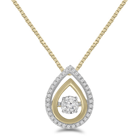 Everlight Pendant with 0.10 Carat TW of Diamonds in 10ct Yellow Gold & Sterling Silver