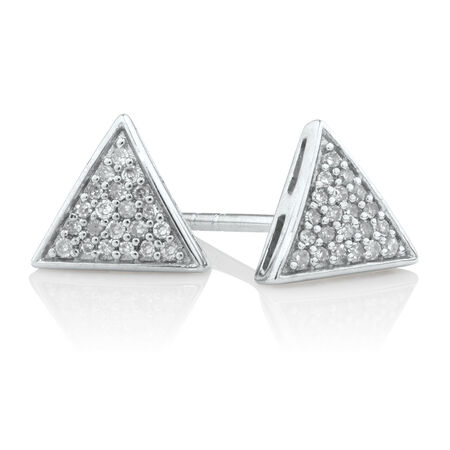 Triangle Stud Earrings with Diamonds in Sterling Silver