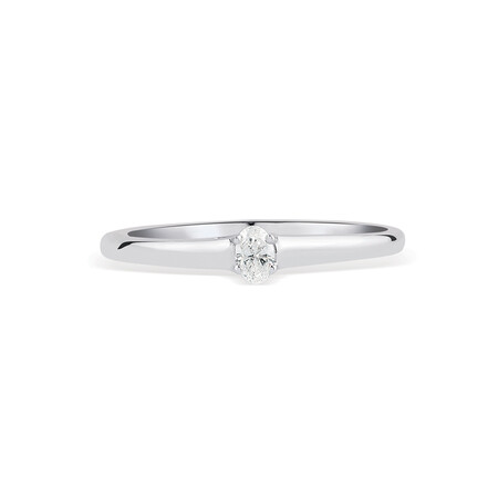 Promise Ring with Diamond in 10ct White Gold