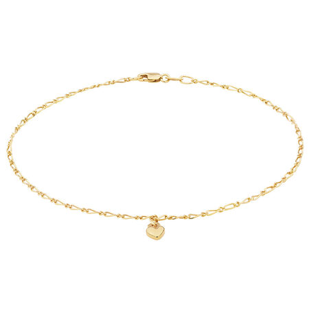 """27cm (11"""") Heart Anklet in 10ct Yellow Gold"""