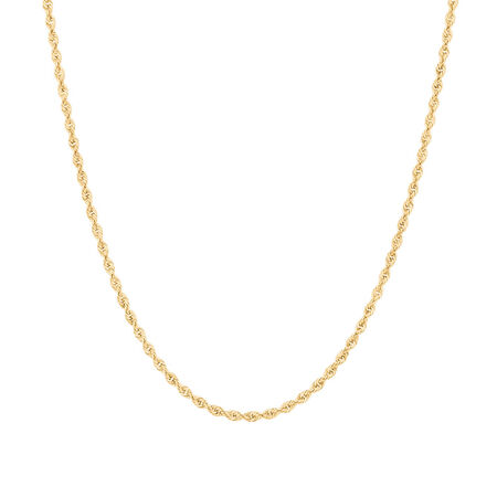 """50cm (20"""") Rope Chain in 10ct Yellow Gold"""