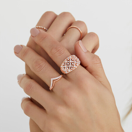 Ring with 0.75 Carat TW of Diamonds in 10ct Rose Gold