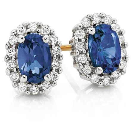 Stud Earrings with Created Sapphire & 0.19 TW Carat of Diamonds in 10ct Yellow & White Gold