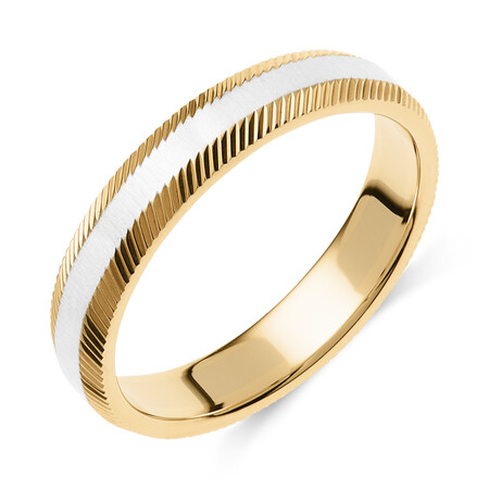Patterned Wedding Band in 10ct Yellow & White Gold