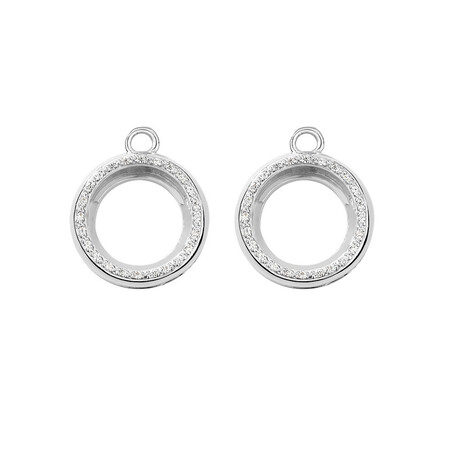 Mini Coin Locket Earrings Case Set with Cubic Zirconia in Sterling Silver