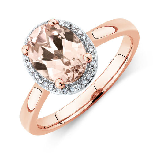 Ring With Created Peach Sapphire & Diamonds In 10ct Rose Gold