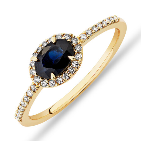 Halo Ring with Sapphire & 0.15 Carat TW of Diamonds in 10ct Yellow Gold