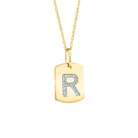 """R"" Initial Rectangular Pendant With Diamonds In 10ct Yellow Gold"
