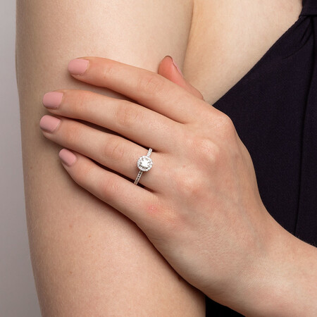 Engagement Ring with 0.92 Carat TW of Diamonds in 14ct White Gold