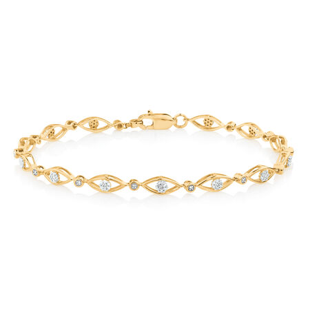Fancy Bracelet with 0.20 TW of Diamonds in 10ct Yellow Gold
