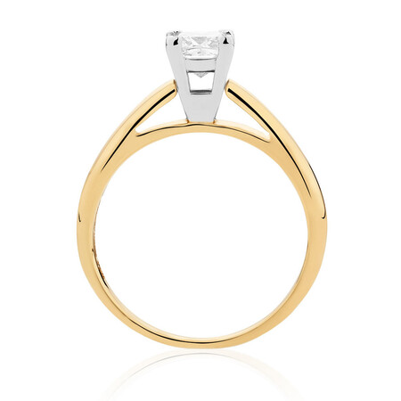 Certified Solitaire Engagement Ring with a 0.69 Carat Diamond in 14ct Yellow & White Gold