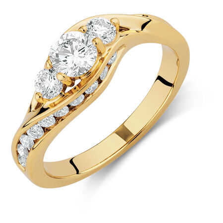 Engagement Ring with 1 Carat TW of Diamonds in 14ct Yellow Gold