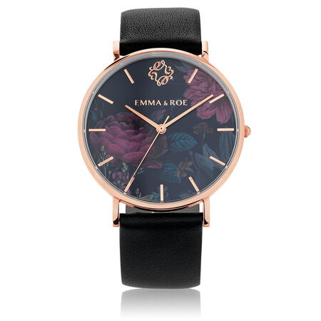Large Watch in Black Leather & Rose Tone Stainless Steel