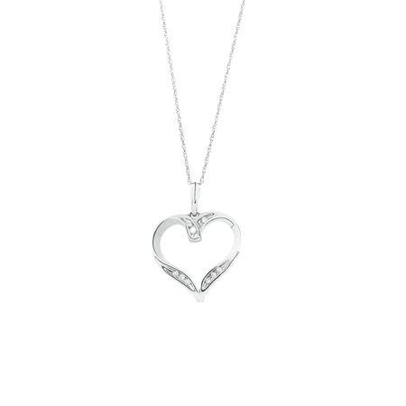 Heart Pendant with Diamonds in 10ct White Gold