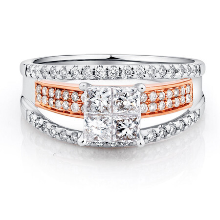 Engagement Ring with 1 Carat TW of Diamonds in 14ct White & Rose Gold