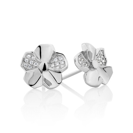 Flower Earrings with Cubic Zirconia in Sterling Silver