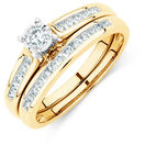 Bridal Set with a 1/2 Carat TW of Diamonds in 10ct Yellow & White Gold