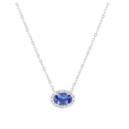 Halo Tanzanite & Diamond Necklace in 10ct White Gold