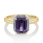 Ring with Purple Created Sapphire & Diamonds in 10ct Yellow Gold