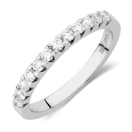Wedding Band with 0.40 Carat TW of Diamonds in 18ct White Gold