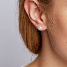 Stud Earrings with 7mm Cultured Freshwater Pearl in 10ct Yellow Gold