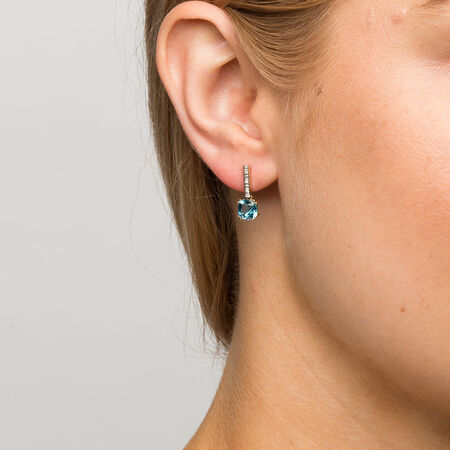 Drop Earrings with Blue Topaz & Diamonds in 10ct Yellow & White Gold