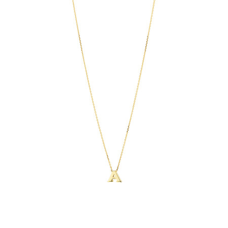 """""""A"""" Initial Necklace in 10ct Yellow Gold"""
