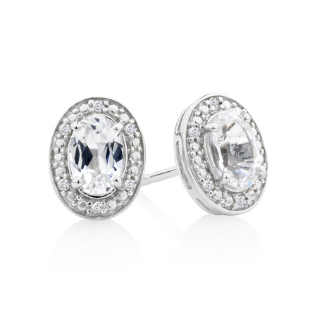 Halo Earrings with Created White Sapphire & Diamonds in Sterling Silver