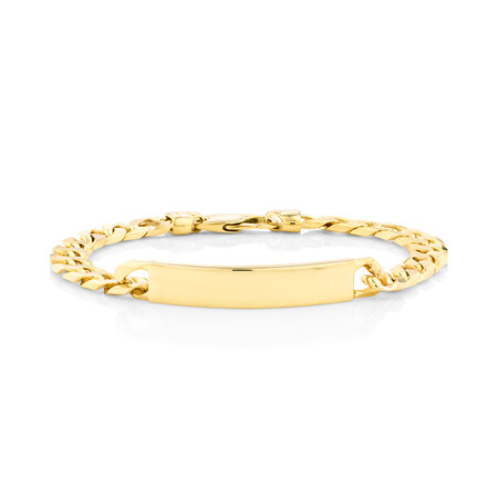 """23cm (9.5"""") Flat Curb ID Bracelet In 10ct Yellow Gold"""