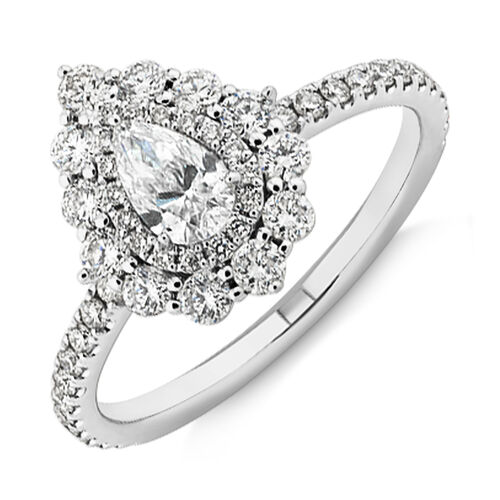 Sir Michael Hill Designer Vintage Floral Engagement Ring with 0.92 Carat TW of Diamonds in 18ct White Gold