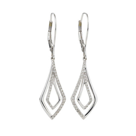 Drop Earrings with 1/4 Carat TW of Diamonds in 10ct White Gold