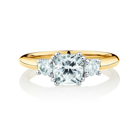Three Stone Engagement Ring with 1.2 Carat TW of Diamonds in 14ct Yellow & White Gold