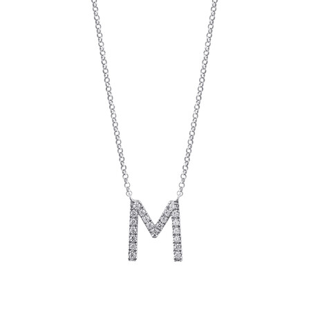 M' Initial necklace with 0.10 Carat TW of Diamonds in 10ct White Gold