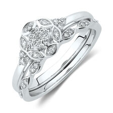 Evermore Bridal Set with 0.13 Carat TW of Diamonds in 10ct White Gold