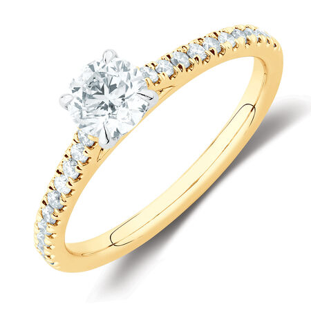 Solitaire Engagement Ring with 1/2 Carat TW of Diamonds in 14ct Yellow & White Gold
