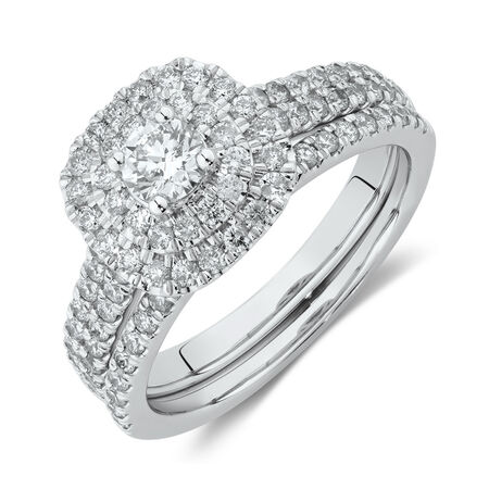 Evermore Bridal Set with 1 Carat TW of Diamonds in 14ct White Gold