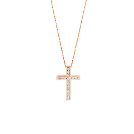 Cross Pendant With 0.34 Carat TW of Diamonds in 10ct Rose Gold