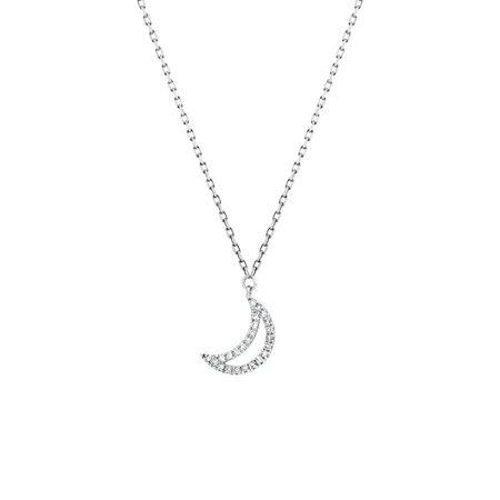 Half Moon Pendant With Diamonds In 10ct White Gold