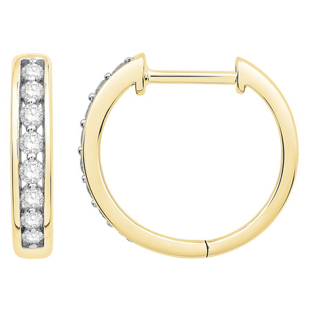 Huggie Earrings with 0.20 Carat TW of Diamonds in 10ct Yellow Gold